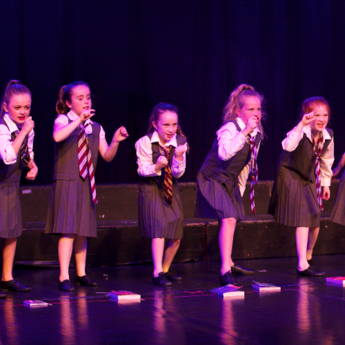 Matilda girls in uniform - musical theatre masterclass